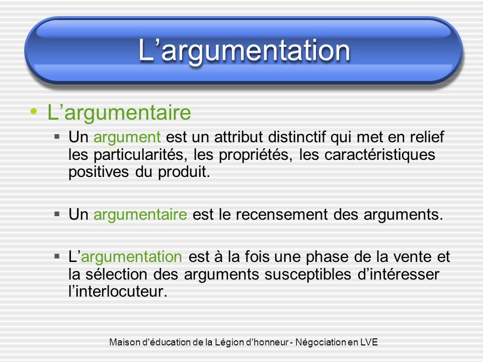 Maison d'éducation de la Légion d'honneur - Négociation en LVE Largumentation Largumentaire Un argument est un attribut distinctif qui met en relief l
