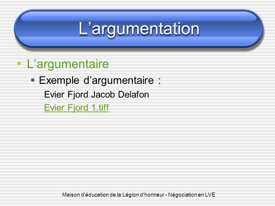 Maison d'éducation de la Légion d'honneur - Négociation en LVE Largumentation Largumentaire Exemple dargumentaire : Evier Fjord Jacob Delafon Evier Fj