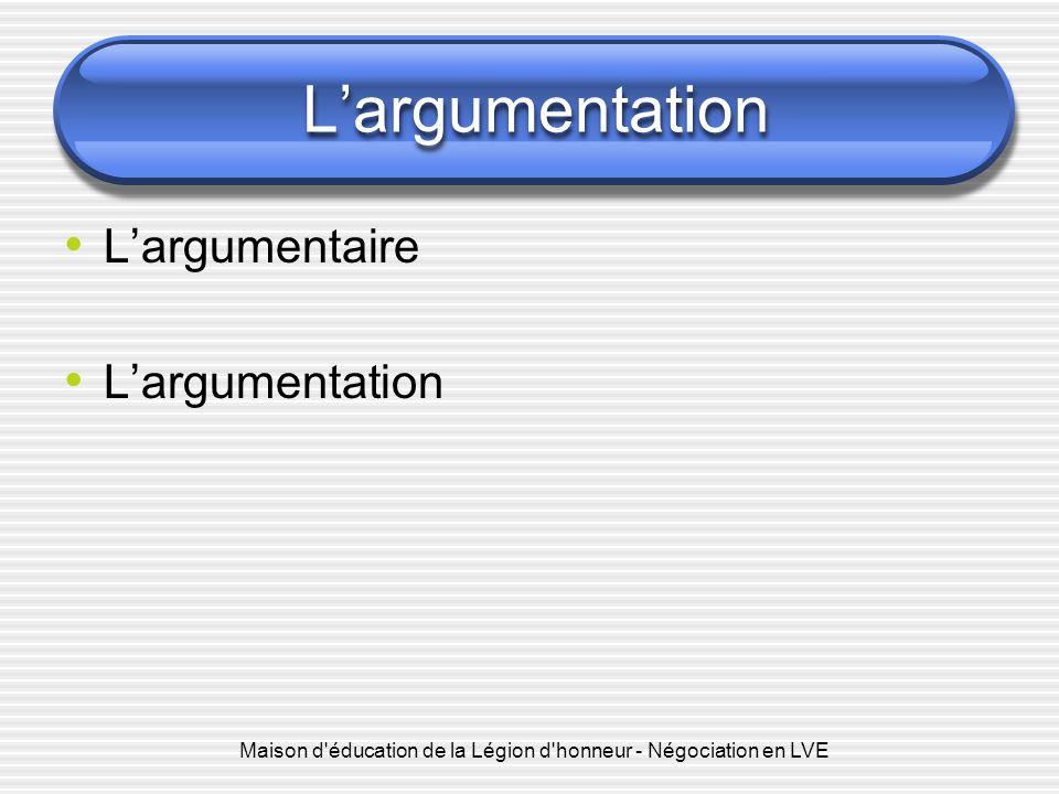 Maison d'éducation de la Légion d'honneur - Négociation en LVE Largumentation Largumentaire Largumentation