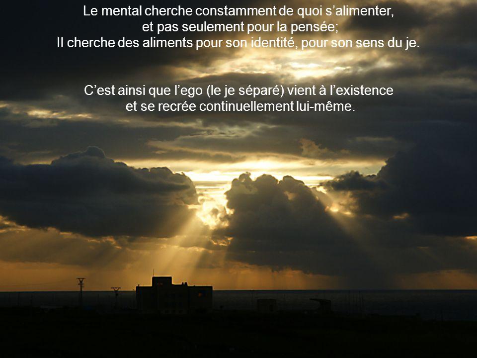 Le mental cherche constamment de quoi salimenter, et pas seulement pour la pensée; Il cherche des aliments pour son identité, pour son sens du je.