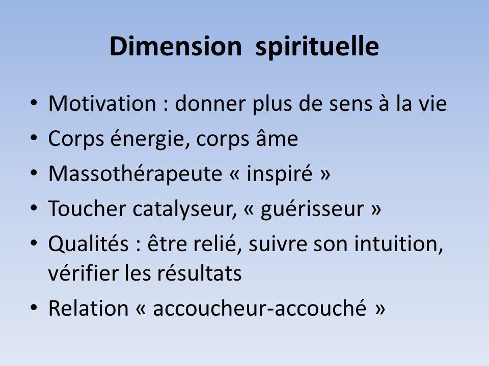 Dimension spirituelle Motivation : donner plus de sens à la vie Corps énergie, corps âme Massothérapeute « inspiré » Toucher catalyseur, « guérisseur