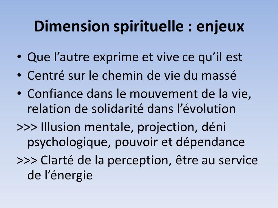 Dimension spirituelle : enjeux Que lautre exprime et vive ce quil est Centré sur le chemin de vie du massé Confiance dans le mouvement de la vie, rela