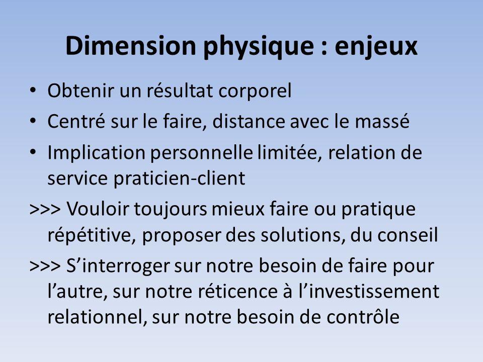 Dimension physique : enjeux Obtenir un résultat corporel Centré sur le faire, distance avec le massé Implication personnelle limitée, relation de serv