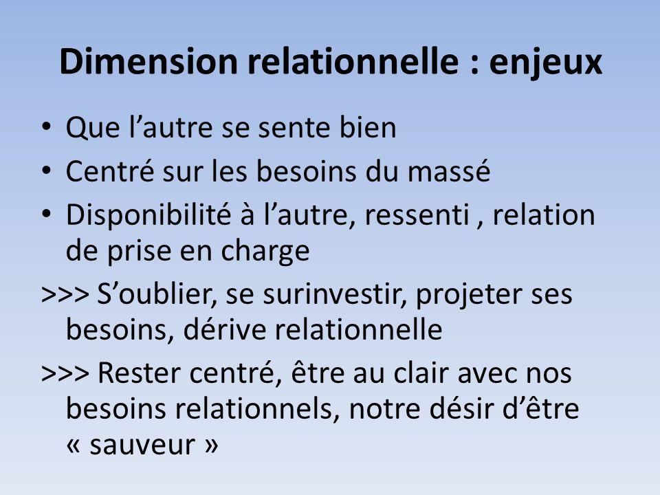 Dimension relationnelle : enjeux Que lautre se sente bien Centré sur les besoins du massé Disponibilité à lautre, ressenti, relation de prise en charg