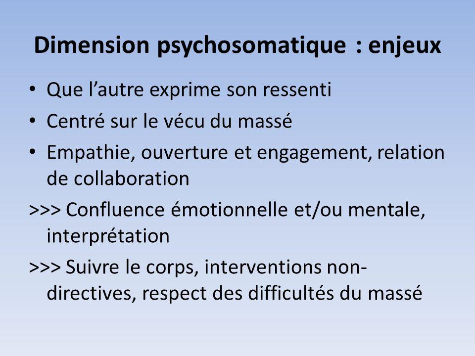 Dimension psychothérapeutique Motivation : approfondir le vécu, dénouer le passé Corps mémoire Massothérapeute psychothérapeute Toucher « libérateur » Qualités : Outils psychothérapeutiques dintégration, parcours personnel Relation : guider - explorer