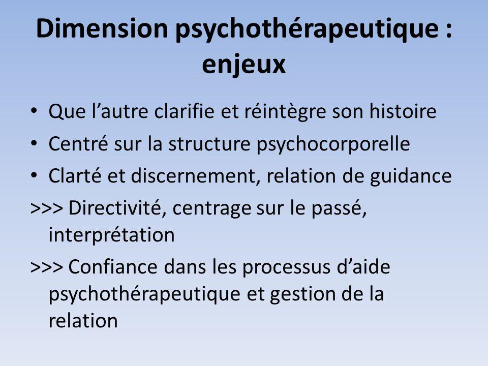 Dimension psychothérapeutique : enjeux Que lautre clarifie et réintègre son histoire Centré sur la structure psychocorporelle Clarté et discernement,