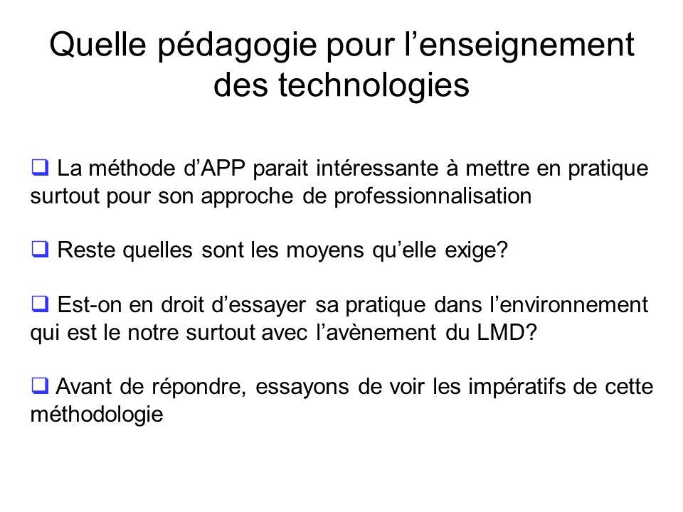 Quelle pédagogie pour lenseignement des technologies Dans la méthode APP, lenseignement est partagé en 3 phases: Phase 1 : travail collectif pour la d