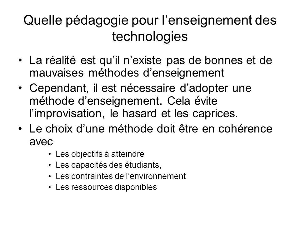 Quelle pédagogie pour lenseignement des technologies Lenvironnement pour lapplication de cette approche nest pas favorable Lenseignant ne maîtrise pas