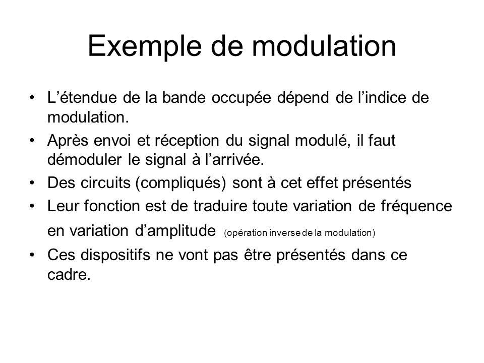 Exemple de modulation Le développement de lexpression du signal modulé en fréquence : J n : sont les fonctions de Bessel. Lexpression de la tension VF