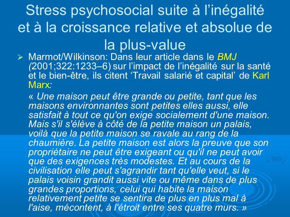 Stress psychosocial suite à linégalité et à la croissance relative et absolue de la plus-value Marmot/Wilkinson: Dans leur article dans le BMJ (2001;322:1233–6) sur limpact de linégalité sur la santé et le bien-être, ils citent Travail salarié et capital de Karl Marx: « Une maison peut être grande ou petite, tant que les maisons environnantes sont petites elles aussi, elle satisfait à tout ce qu on exige socialement d une maison.