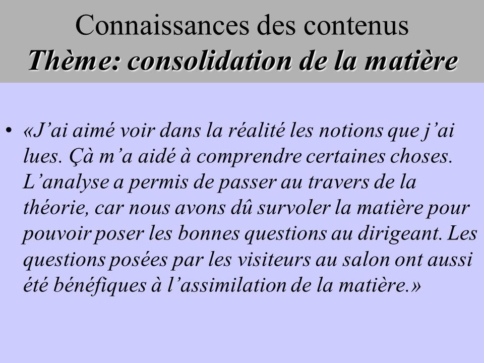Thème: consolidation de la matière Connaissances des contenus Thème: consolidation de la matière «Jai aimé voir dans la réalité les notions que jai lu