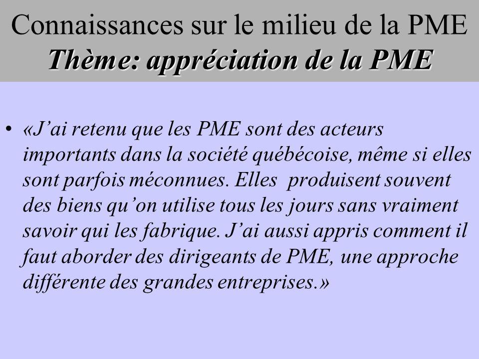 Thème: appréciation de la PME Connaissances sur le milieu de la PME Thème: appréciation de la PME «Jai retenu que les PME sont des acteurs importants dans la société québécoise, même si elles sont parfois méconnues.