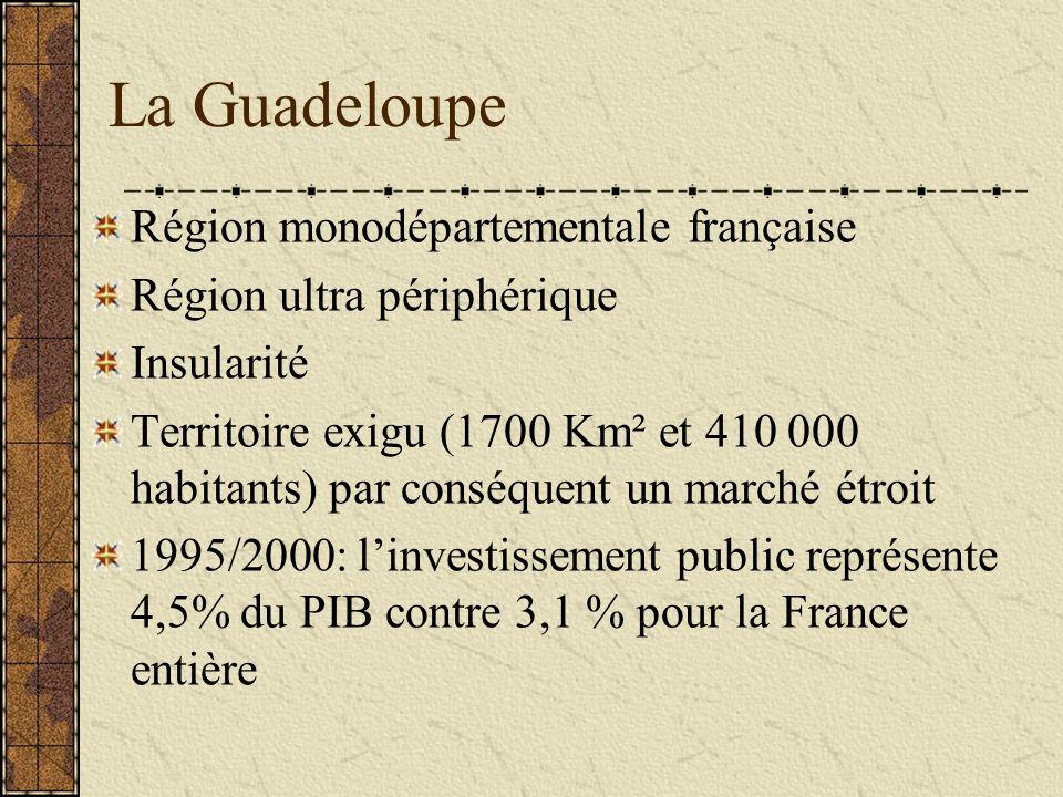 La Guadeloupe Région monodépartementale française Région ultra périphérique Insularité Territoire exigu (1700 Km² et 410 000 habitants) par conséquent un marché étroit 1995/2000: linvestissement public représente 4,5% du PIB contre 3,1 % pour la France entière