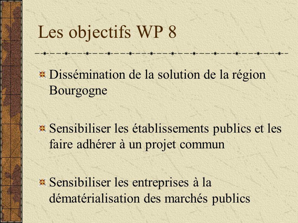 Les objectifs WP 8 Dissémination de la solution de la région Bourgogne Sensibiliser les établissements publics et les faire adhérer à un projet commun Sensibiliser les entreprises à la dématérialisation des marchés publics
