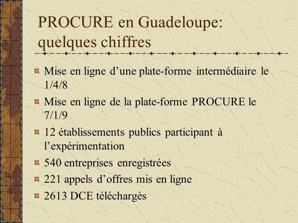 PROCURE en Guadeloupe: quelques chiffres Mise en ligne dune plate-forme intermédiaire le 1/4/8 Mise en ligne de la plate-forme PROCURE le 7/1/9 12 établissements publics participant à lexpérimentation 540 entreprises enregistrées 221 appels doffres mis en ligne 2613 DCE téléchargés