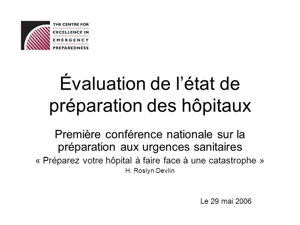 Évaluation de létat de préparation des hôpitaux Première conférence nationale sur la préparation aux urgences sanitaires « Préparez votre hôpital à fa