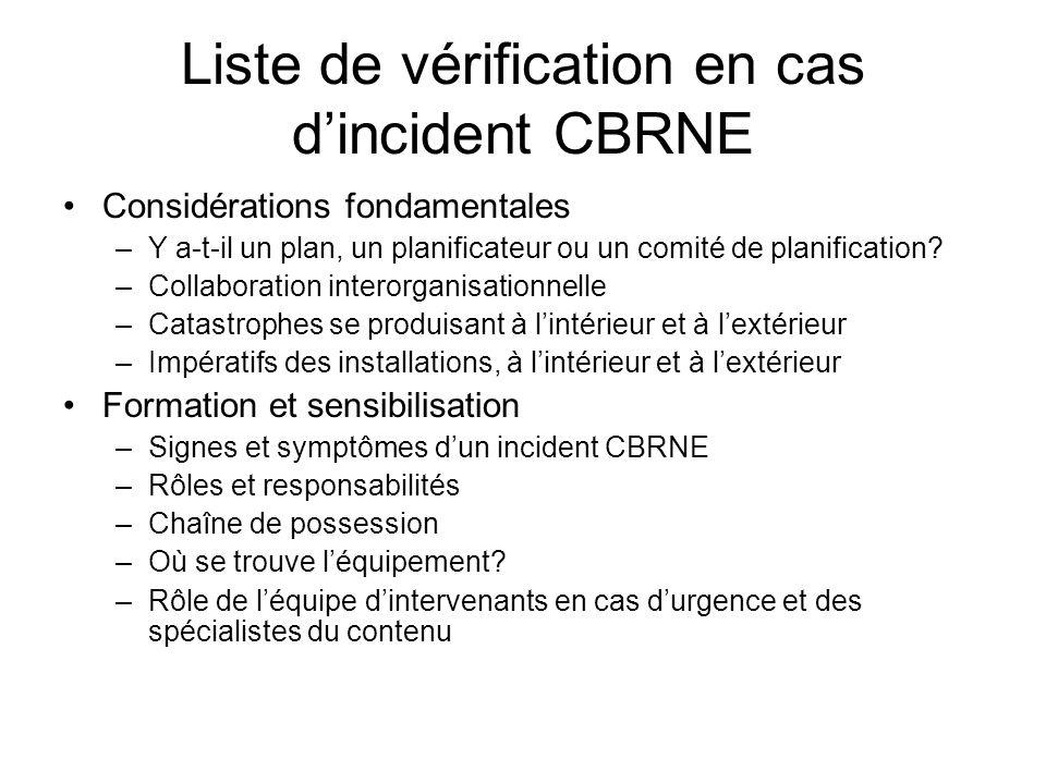 Liste de vérification en cas dincident CBRNE Considérations fondamentales –Y a-t-il un plan, un planificateur ou un comité de planification? –Collabor