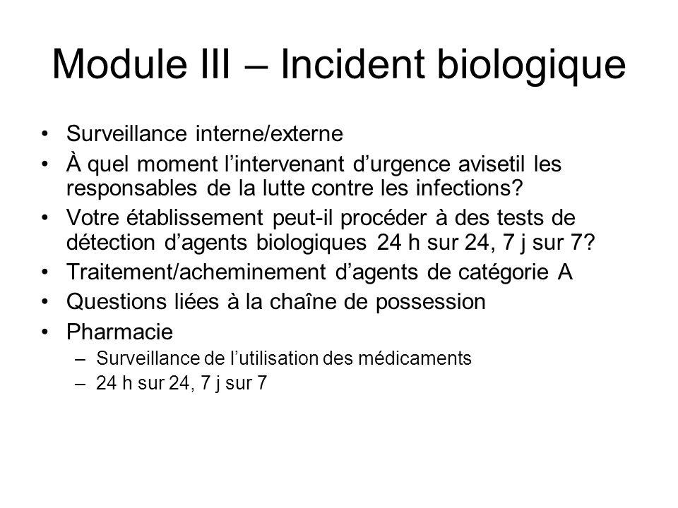 Module III – Incident biologique Surveillance interne/externe À quel moment lintervenant durgence avisetil les responsables de la lutte contre les i