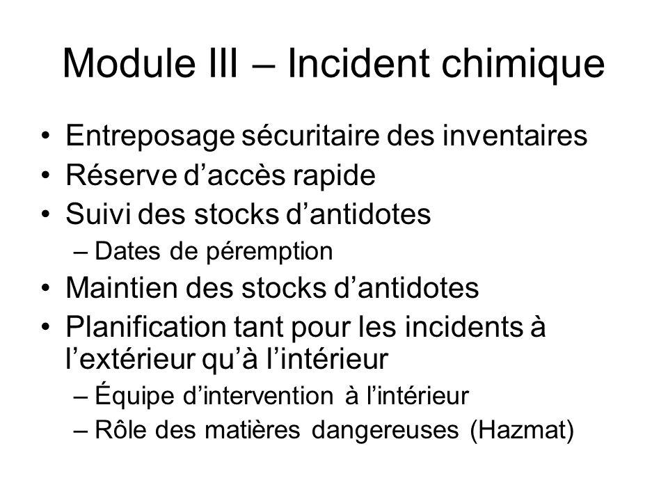 Module III – Incident chimique Entreposage sécuritaire des inventaires Réserve daccès rapide Suivi des stocks dantidotes –Dates de péremption Maintien