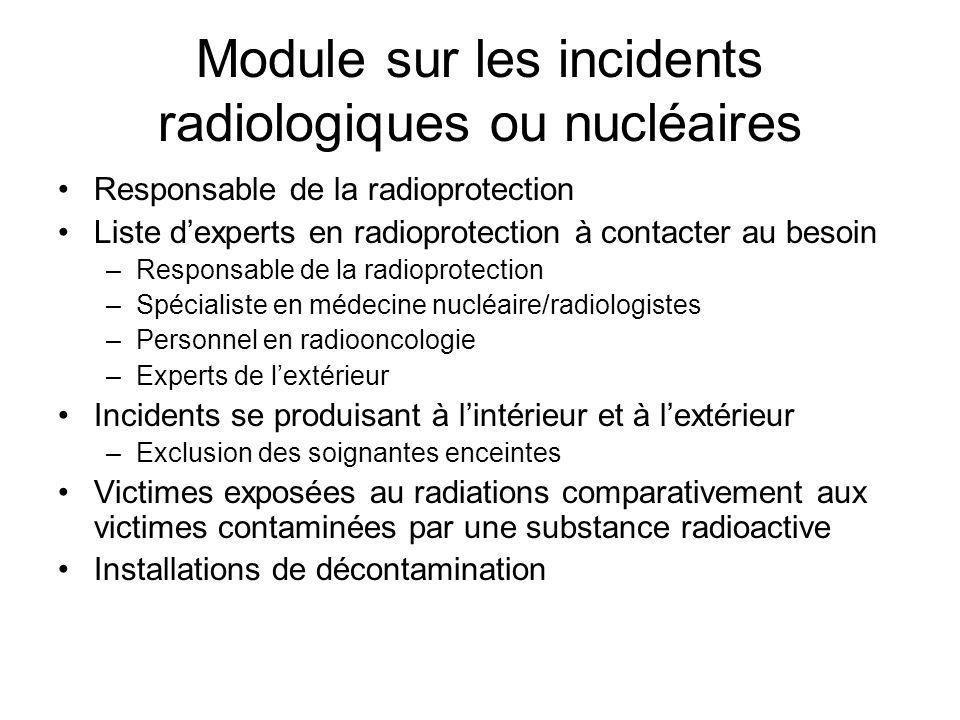 Module sur les incidents radiologiques ou nucléaires Responsable de la radioprotection Liste dexperts en radioprotection à contacter au besoin –Respon