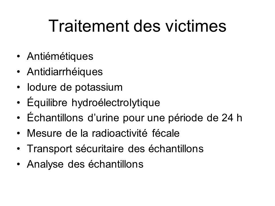 Traitement des victimes Antiémétiques Antidiarrhéiques Iodure de potassium Équilibre hydroélectrolytique Échantillons durine pour une période de 24 h