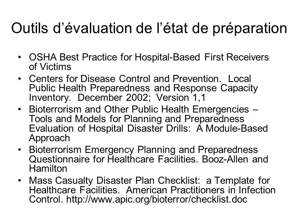 État de préparation général Liste de vérification VI Capacités diagnostiques Technologie de linformation Gestion du stress à la suite dun incident critique Rétablissement après une catastrophe –Combien tout cela a-t-il coûté.