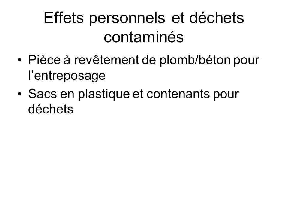 Effets personnels et déchets contaminés Pièce à revêtement de plomb/béton pour lentreposage Sacs en plastique et contenants pour déchets