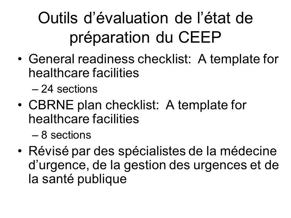 Outils dévaluation de létat de préparation du CEEP General readiness checklist: A template for healthcare facilities –24 sections CBRNE plan checklist