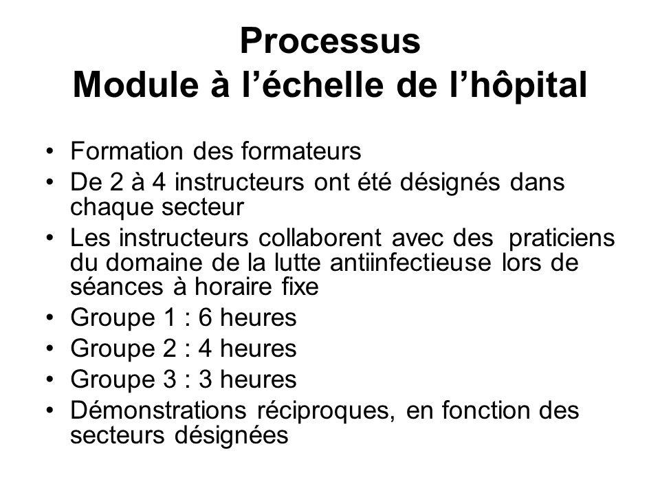 Processus Module à léchelle de lhôpital Formation des formateurs De 2 à 4 instructeurs ont été désignés dans chaque secteur Les instructeurs collabore