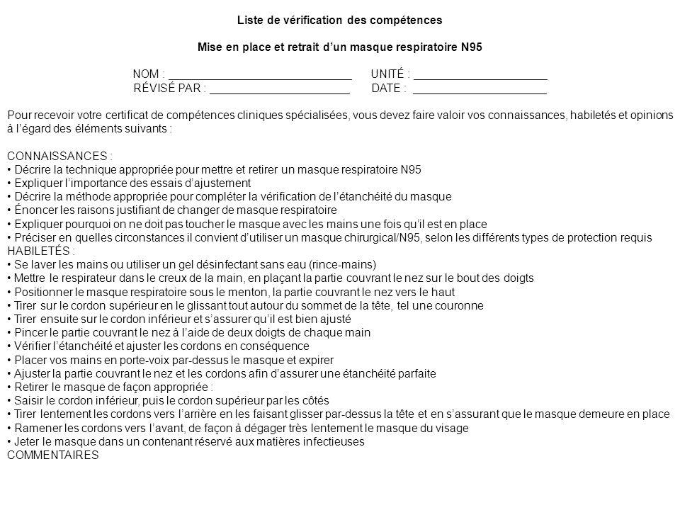 Liste de vérification des compétences Mise en place et retrait dun masque respiratoire N95 NOM : _____________________________UNITÉ : ________________