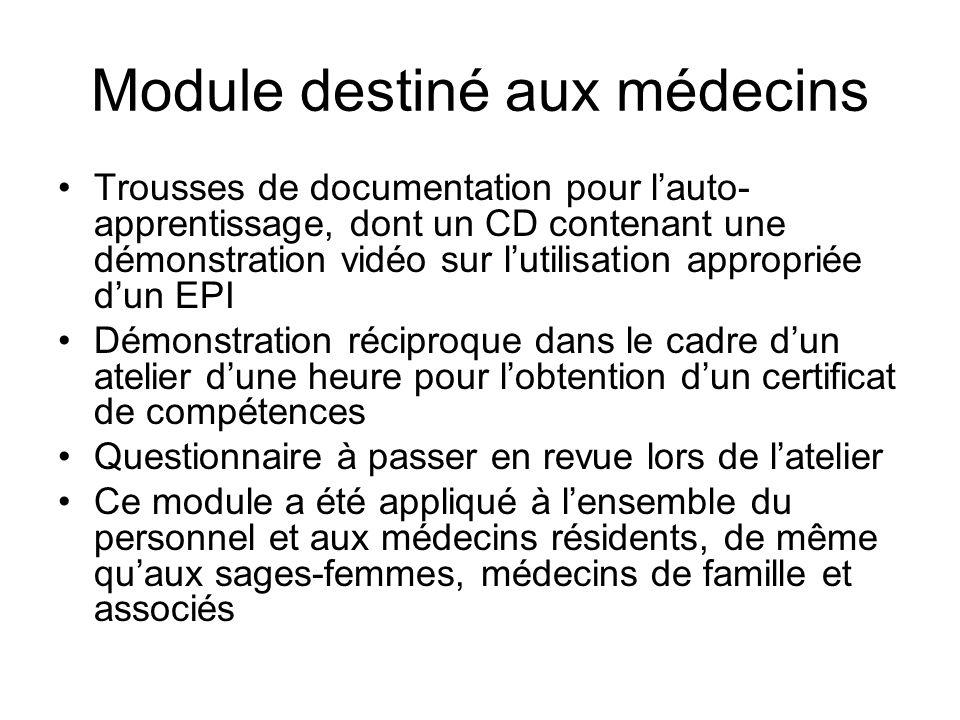 Module destiné aux médecins Trousses de documentation pour lauto apprentissage, dont un CD contenant une démonstration vidéo sur lutilisation appropr