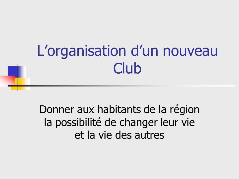 Etapes pour lorganisation dun nouveau Club 1: Déterminer les sites possibles 2: Développer son équipe dExtension 3: Organiser un sondage sur la possibilité de former un nouveau club 4: Promouvoir le nouveau Club au sein de la communauté 5: Recruter les membres fondateurs 6: Développer le nouveau Club 7: Demander la charte du Club ou la constitution dune Branche de Club