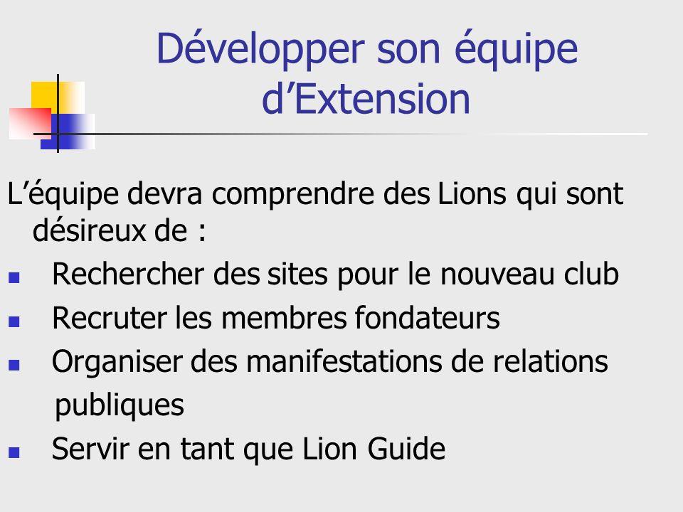 Développer son équipe dExtension Léquipe devra comprendre des Lions qui sont désireux de : Rechercher des sites pour le nouveau club Recruter les membres fondateurs Organiser des manifestations de relations publiques Servir en tant que Lion Guide