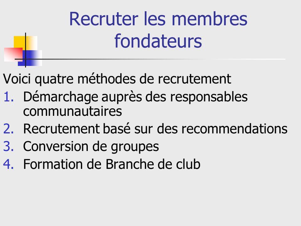 Recruter les membres fondateurs Voici quatre méthodes de recrutement 1.Démarchage auprès des responsables communautaires 2.Recrutement basé sur des recommendations 3.Conversion de groupes 4.Formation de Branche de club