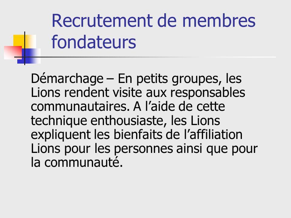 Recrutement de membres fondateurs Démarchage – En petits groupes, les Lions rendent visite aux responsables communautaires.