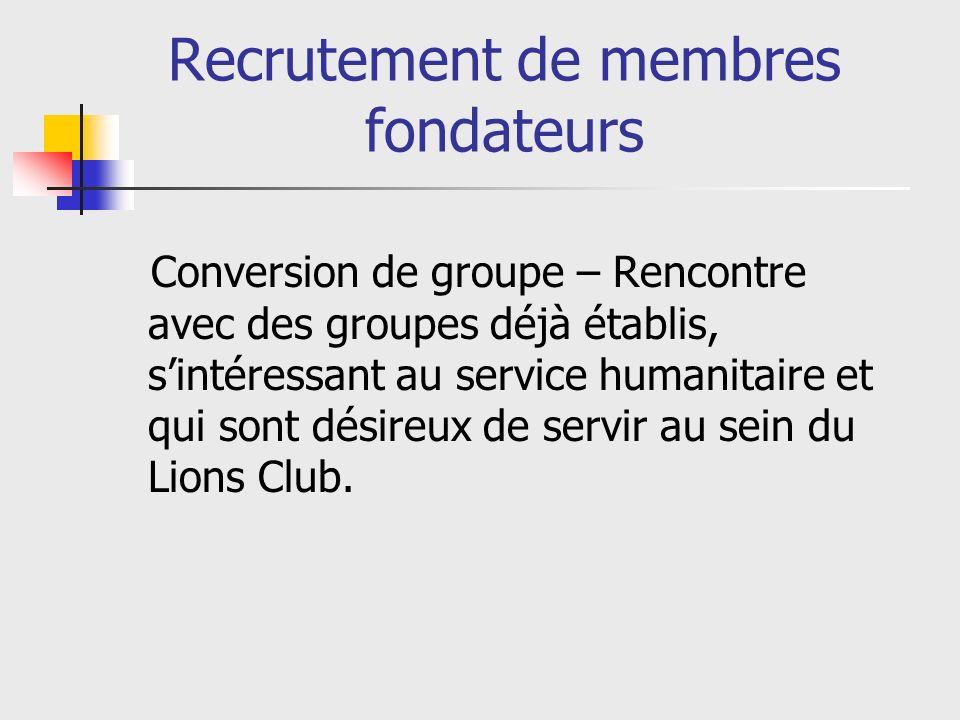 Recrutement de membres fondateurs Conversion de groupe – Rencontre avec des groupes déjà établis, sintéressant au service humanitaire et qui sont désireux de servir au sein du Lions Club.