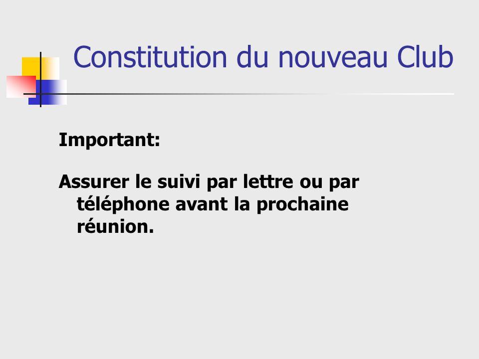 Constitution du nouveau Club Important: Assurer le suivi par lettre ou par téléphone avant la prochaine réunion.