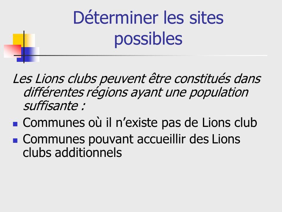 Déterminer les sites possibles Les Lions clubs peuvent être constitués dans différentes régions ayant une population suffisante : Communes où il nexiste pas de Lions club Communes pouvant accueillir des Lions clubs additionnels