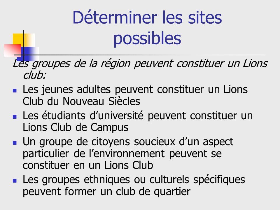 Etapes pour lorganisation dun nouveau Club 1: Déterminer les sites possibles 2: Développer son équipe dExtension