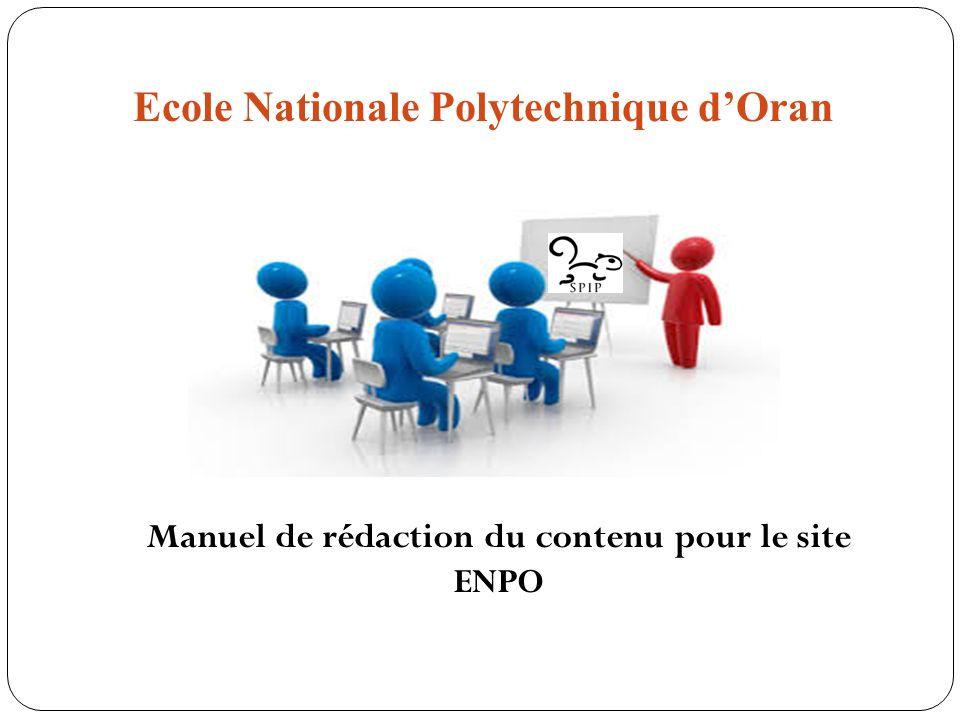 Ecole Nationale Polytechnique dOran Manuel de rédaction du contenu pour le site ENPO