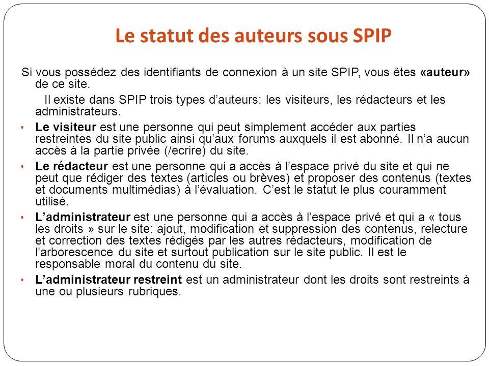 Le statut des auteurs sous SPIP Si vous possédez des identifiants de connexion à un site SPIP, vous êtes «auteur» de ce site. Il existe dans SPIP troi