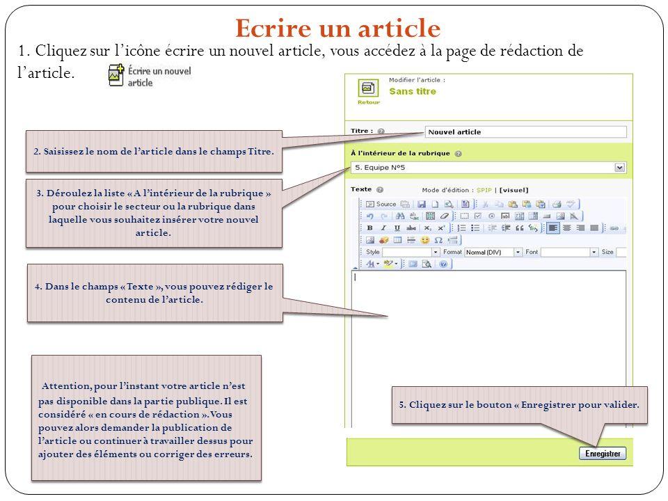 1. Cliquez sur licône écrire un nouvel article, vous accédez à la page de rédaction de larticle. Ecrire un article Attention, pour linstant votre arti