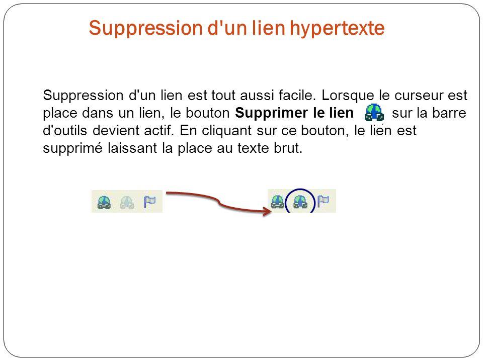 Suppression d'un lien hypertexte Suppression d'un lien est tout aussi facile. Lorsque le curseur est place dans un lien, le bouton Supprimer le lien s
