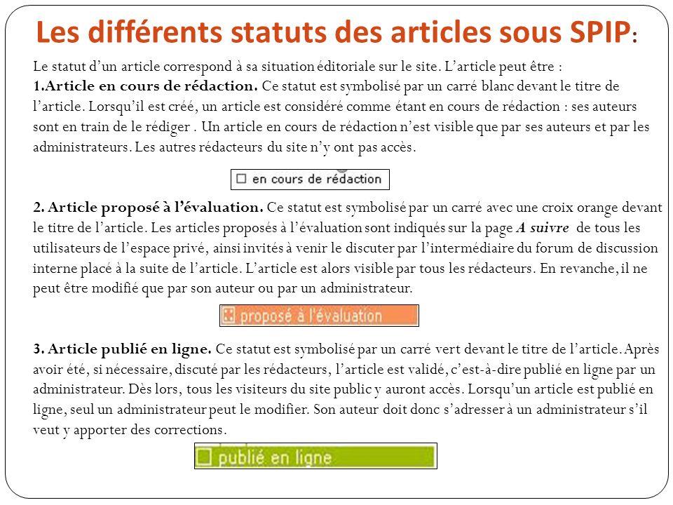 Les différents statuts des articles sous SPIP : Le statut dun article correspond à sa situation éditoriale sur le site. Larticle peut être : 1.Article
