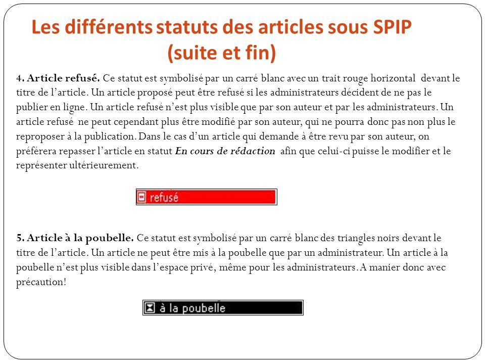 Les différents statuts des articles sous SPIP (suite et fin) 4. Article refusé. Ce statut est symbolisé par un carré blanc avec un trait rouge horizon