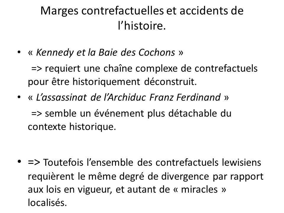 Marges contrefactuelles et accidents de lhistoire. « Kennedy et la Baie des Cochons » => requiert une chaîne complexe de contrefactuels pour être hist