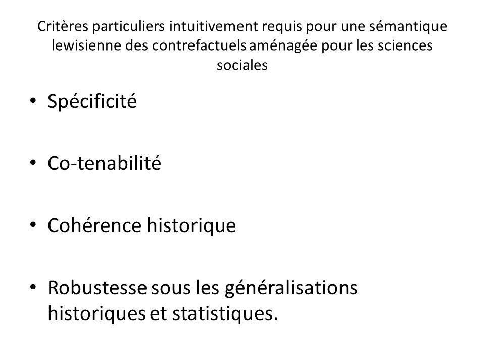 Critères particuliers intuitivement requis pour une sémantique lewisienne des contrefactuels aménagée pour les sciences sociales Spécificité Co-tenabi