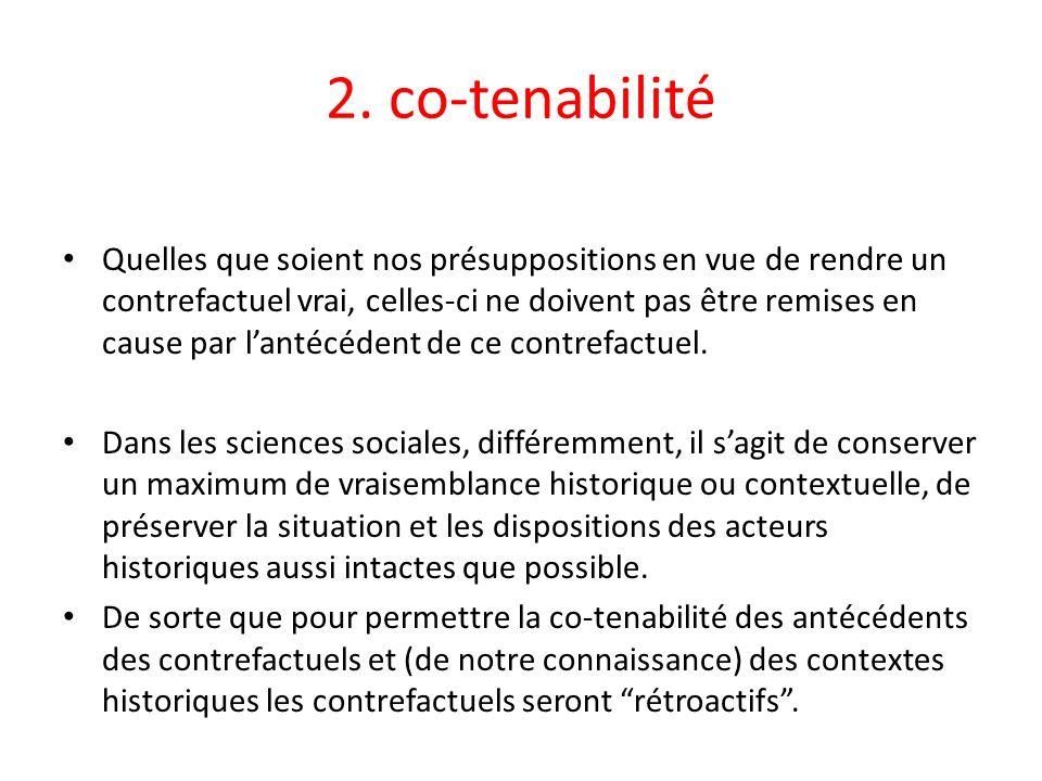 2. co-tenabilité Quelles que soient nos présuppositions en vue de rendre un contrefactuel vrai, celles-ci ne doivent pas être remises en cause par lan