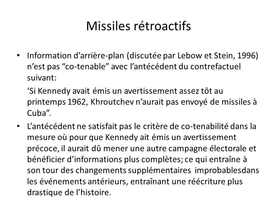 Missiles rétroactifs Information darrière-plan (discutée par Lebow et Stein, 1996) nest pas co-tenable avec lantécédent du contrefactuel suivant: Si K