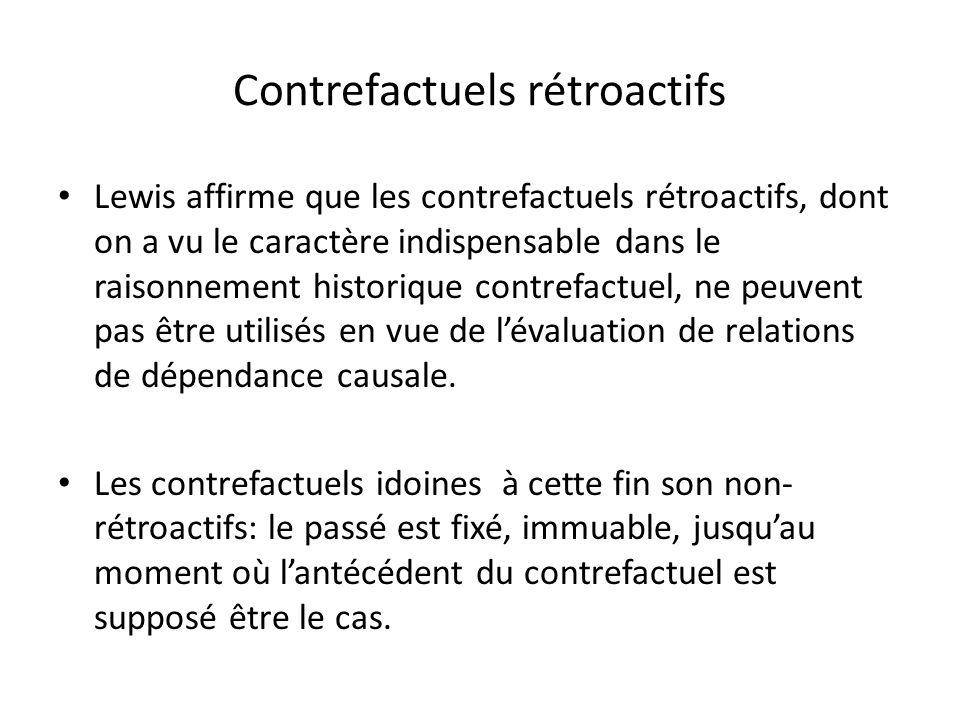 Contrefactuels rétroactifs Lewis affirme que les contrefactuels rétroactifs, dont on a vu le caractère indispensable dans le raisonnement historique c